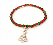 Christmas Tree Stretchy Bracelet Kit with SWAROVSKI® ELEMENTS crystal beads